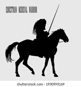 isolated realistic black silhouette of an equestrian medieval knight