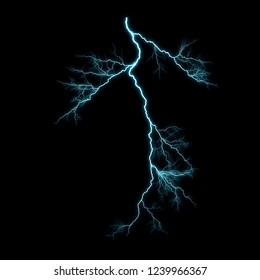 Isolated realistic blue electrical lightning strike visual effect on black night background. Energy change.