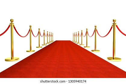 isolated red carpet and golden barrier with red rope 3d rendering image