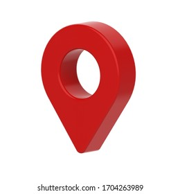 Isolated red map pointer set on white background. 3D rendering Illustration