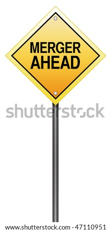 "Isolated Road Sign with ""Merger Ahead"""