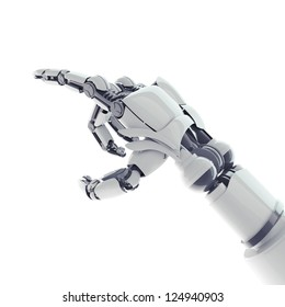 Isolated robotic pointing arm on white background