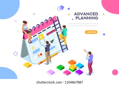 Isolated schedule concept or planner. Planning sticker, management images. Characters and people for presentations, professional clipart, web banner, infographics. Flat isometric illustration.