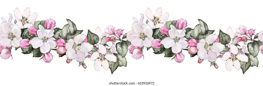 isolated Seamless  border with pink flowers, leaves. vintage watercolor floral pattern with leaf. Pastel color. Seamless floral rim,  band for cards, wedding or fabric.