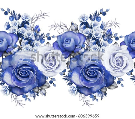 isolated seamless pattern border blue flowersのイラスト素材