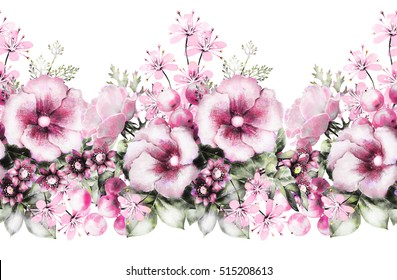 isolated Seamless pattern border with flowers, leaves, vintage watercolor floral pattern, flower rose, pastel seamless floral strip, seamless band for fabric, pattern with wild flower, bud, leaf
