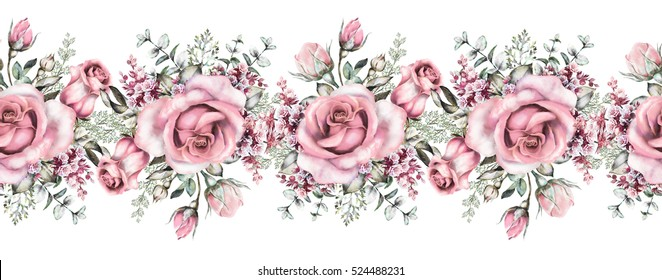 isolated Seamless pattern border with pink flowers, vintage watercolor floral pattern with leaf and rose, herbs, pastel color, seamless floral strip, rim, seamless band for cards, wedding or fabric.