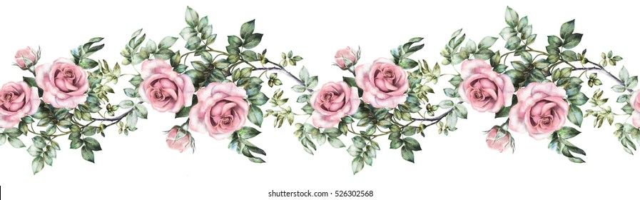 isolated Seamless pattern border with pink flowers, leaves, vintage watercolor floral pattern with leaf and rose, pastel color, seamless floral strip, rim, seamless band for cards, wedding or fabric.
