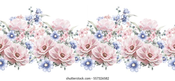 isolated Seamless pattern border with pink flowers, leaves, vintage watercolor floral pattern with leaf and rose, herbs, pastel color, seamless floral rim,  band for cards, wedding or fabric.