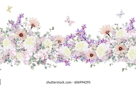 isolated Seamless pattern border with pink flowers, leaves. vintage watercolor floral pattern with leaf and rose, herbs. Pastel color.Seamless floral rim,  band for cards, wedding or fabric.