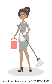 Isolated service maids. Woman with cleaning equipment.