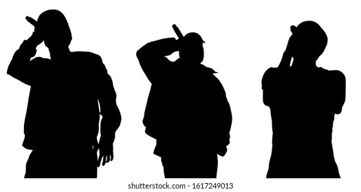 Isolated set of black rap singer silhouettes on white background.Group of hip hop singers cut out on backdrop.Cool young mc rapping in microphone on stage.Rappers silhouette for party poster design