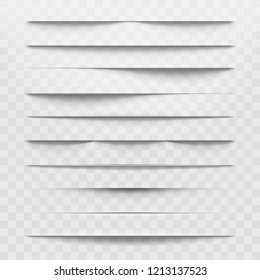 Isolated shadow bottom web paper dividers on transparent background. Horizontal shadows layout discarded by paper sheet  illustration realism set