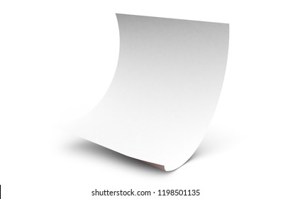 isolated sheet falling 3d rendering mockup