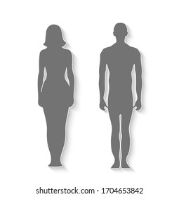 Isolated silhouette man amd woman for design, Raster version.
