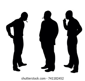 isolated silhouette of men smoking