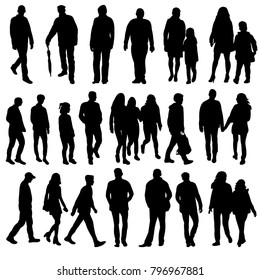 isolated silhouette people go, collection