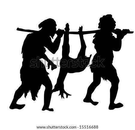 Isolated Silhouette Primitive People On White Stock Illustration