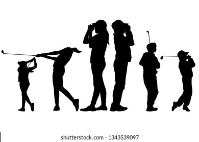 Isolated silhouette young golfers playing golf and  using rangefinder for distance measurement. Clipping Path Included.