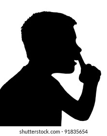 Isolated Silhouetted Boy Child Gesture and Activity Picking Nose
