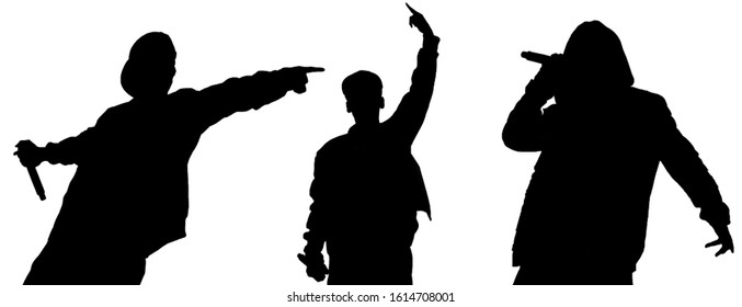 Isolated silhouettes of rap singers with microphone performing live on stage.Black silhouette of hip hop star with mic in hand cut out on white background.Rapper singing on scene on night club party