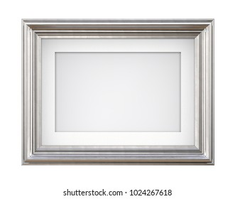 Isolated Silver Frame. 3D render of Vintage Silver Frame with passe-partout on blue background. Isolated and Blank for Copy Space.