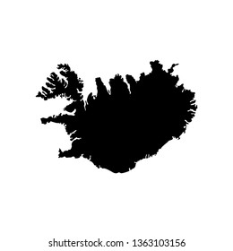 isolated simplified illustration icon with black silhouette of Iceland map (jpeg). White background