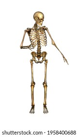 Isolated skeleton figure in a dynamic pose. 3d Illustration