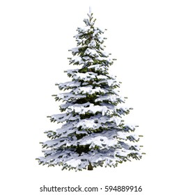 Isolated Snow Covered Christmas Tree on White Background, Christmas-tree Background,  Noel Tree, New Year and Happy Holidays Celebrations,  Snow Tree Isolated on White Background