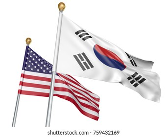 Isolated South Korea and United States flags flying together for diplomatic talks and trade relations, 3D rendering