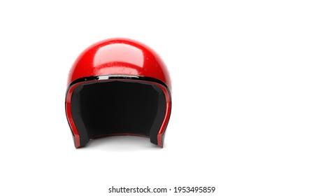 Isolated Sport Red Safety Crash Helmet On White Background 3d Illustration
