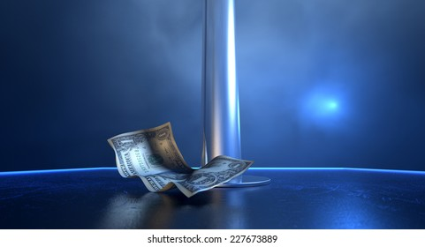 An isolated stripper pole on a stage lit by a single spotlight surrounded by crumpled up one dollar bill tips on a strip club background