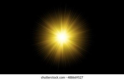 An isolated Sun with flair on a dark background.