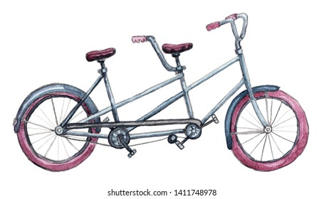 Isolated tandem bicycle with purple weels. Hand painted watercolor style