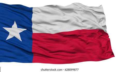 Isolated Texas Flag, USA state, Waving on White Background, High Resolution