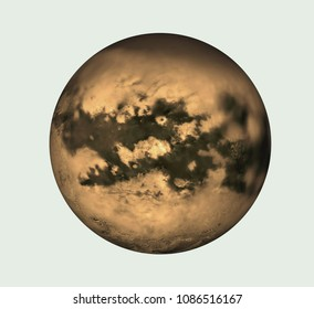 Isolated Titan rendering or illustration . Titan is satellite of the planet of Solar System Saturn.