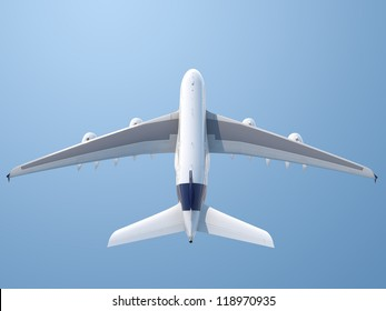Isolated top rear view of plane taking off with clipping path included