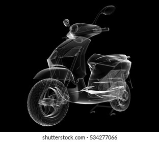 isolated transparent scooter image, 3D illustration
