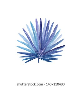 Isolated tropical leaf in night blue and violet colors, modern watercolor painting