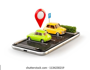 Isolated unusual 3d illustration os smartphone application for online searching free parking place on the map. GPS Navigation. Parking and car sharing concept