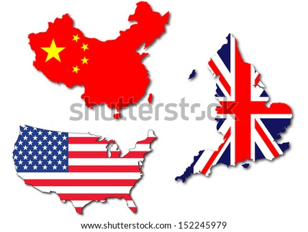 Isolated Us Uk China Flag On Stock Illustration Royalty Free Stock