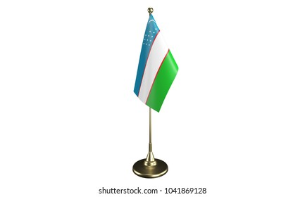 Isolated Uzbekistan desktop flag. 3d render