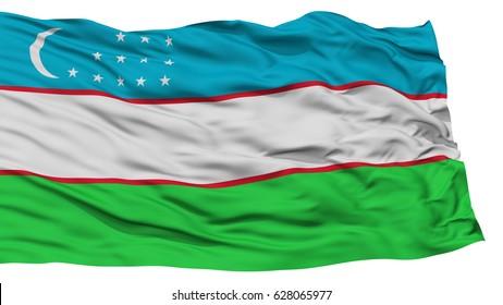 Isolated Uzbekistan Flag, Waving on White Background, High Resolution