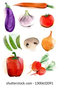 Isolated vegetables on white background. Painted watercolor objects. Digital compiled and reduced.
