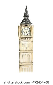 Isolated watercolor big ben on white background. Symbol of England. Famous historical building.