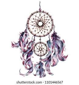 Isolated watercolor bohemian dreamcatcher, boho feathers decoration. Dream catcher in ultraviolet color