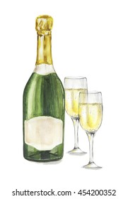 Isolated watercolor champagne bottle with glasses on white background. Alcohol bottle for decoration of menu, cafe, restaurant. isolated on white