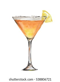 Isolated watercolor cocktail. Isolated glass with alcohol drink on white background. Orange.