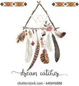 Isolated watercolor decoration bohemian dreamcatcher, boho feathers decoration, native dream chic design, mystery ethnic tribal print, american culture design, gypsy ornament, dream catcher