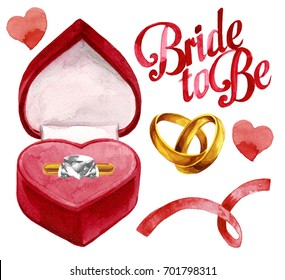 Isolated watercolor illustration of gold engagement ring with diamond in an open red ink heart shape box with hearts, ribbon, wedding bands and bride to be lettering on white background